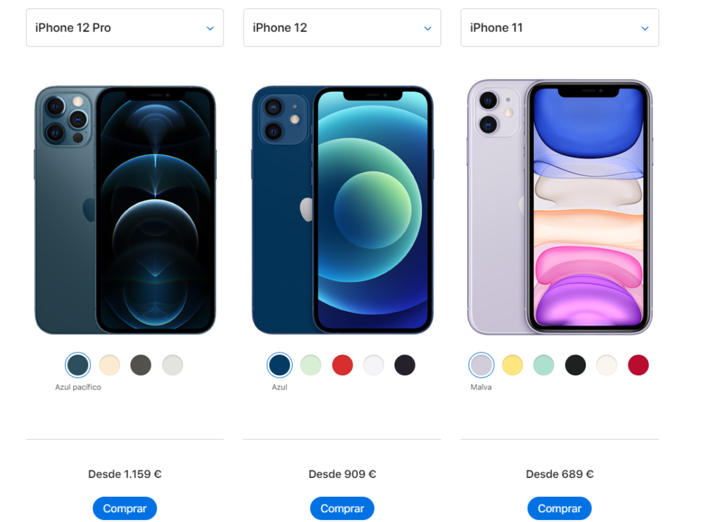 comparación de tres teléfonos de Apple